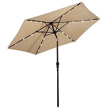 Giantex 9FT Patio Solar Umbrella LED Patio Market Steel Tilt W/Crank Outdoor