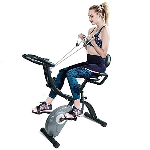 Bicicleta de ejercicios vertical magnética, bicicleta de ejercicios plegable con bandas de resistencia para los brazos y correa para el tobillo, máquina de bicicleta estática 3 en 1, monitor LCD