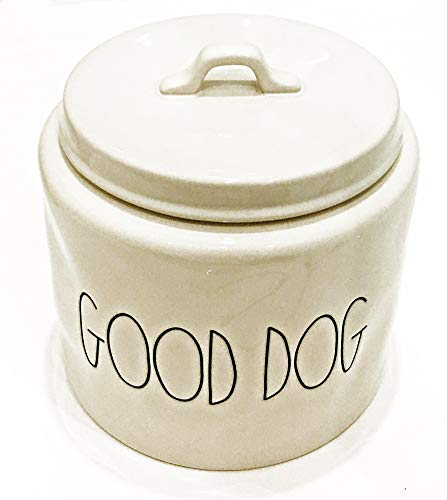 Amazing Deal Rae Dunn by Magenta Ceramic Extra Large (8 x 8) Pet Treat Canister | Inscribed: GOOD ...