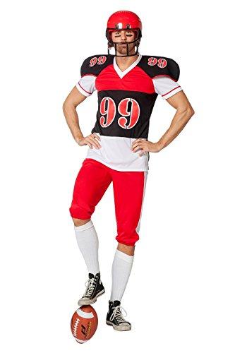 American Football Spieler Kostüm Herren Rot Schwarz Weiß Rugby-Spieler Karneval Fasching Hochwertige Verkleidung Fastnacht Größe 64 Schwarz/Weiß/Rot