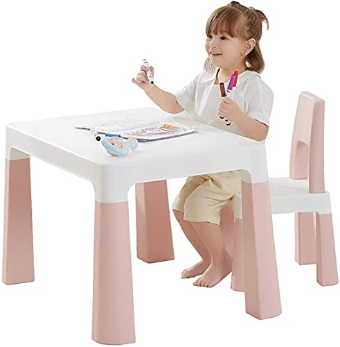 WLP-WF Juego de Silla de Escritorio para Niños Kindergarten Juego de Mesa Y Silla para Niños Mesa Y Silla de Plástico Mesa de Aprendizaje para Bebés Mesa de Juguete para Niños Solo para Niños por Deb