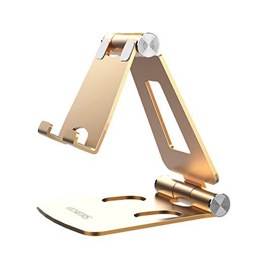 Licheers Handy Ständer, Multi-Winkel Tisch Handy Halterung: Handyhalterung kompatibel mit Phone Xs Max, Xs, XR, X, 8, 7, 6 Plus, Pad Air 2 3 4, Mini 2 3 4 und Geräte von 4-8 Zoll (Gold)