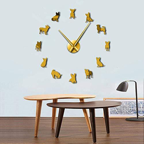 Chihuahua Dog DIY Wall Art Gigante Acrílico Relojes de Pared Perro Razas Cachorro Pug Agujas Grandes Moderno Reloj DIY Reloj Chihuahua Mamá Regalo (Oro 、 47 pulgadas)