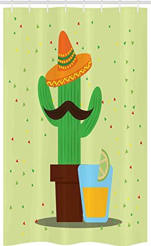 ABAKUHAUS Hispanic Douchegordijn, Mexicaanse Cactus en Tequila, voor Douchecabine Stoffen Badkamer Decoratie Set met Ophangringen, 120 x 180 cm, Veelkleurig