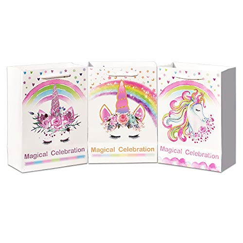 WERNNSAI Bolsos de Regalo Fiesta Unicornio - Artículos Suministros para Fiesta de Unicornio Mágico Bolsas Papel para Niños Chicas Cumpleaños Boda Baby Shower Fiesta Temática de Unicornio 12 Piezas