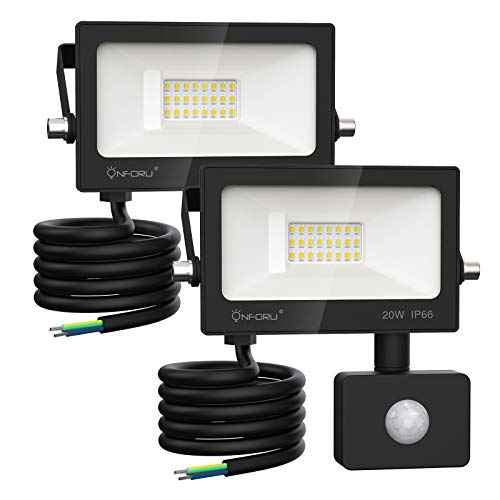 Onforu 2er 20W LED Strahler mit Bewegungsmelder, Superhell 2000LM Außen Fluter Flutlicht, IP66 Wasserdicht Außenstrahler, 6000K Tageslichtweiß Scheinwerfer Außenbeleuchtung für Hof, Garage