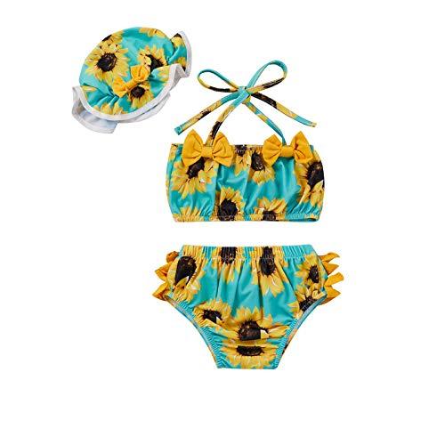 Baby Girl Swimsuit 12-18 Months Swimming Bikini Crop Top Halter Bathing Suits for Girls Floral Ruffle Tankini Bottom with Beach Sun Hat 3 Piece Swimwear