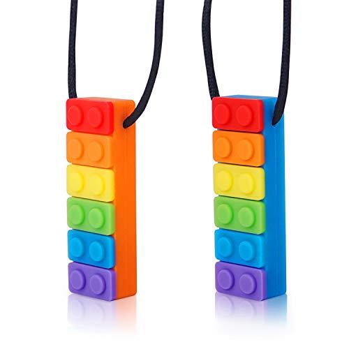 Halskette Beißring Baby Chew Halskette, Silikon Beißring Anhänger für Kinder Autismus Oral Beißen Zahnen Spielzeuge für moderates bis Kauen mit Autismus, ADHS, Oralmotorik(2 Stück )