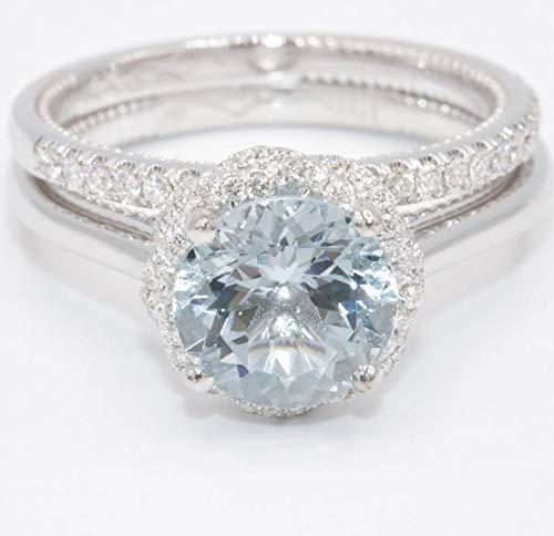 Amazon Com Aquamarine Engagement Ring Infinity Halo Diamond Wedding Ring Alternative Engagement Ring Bohemian Aqua Wedding Ring Set Aquamarine Ring Handmade