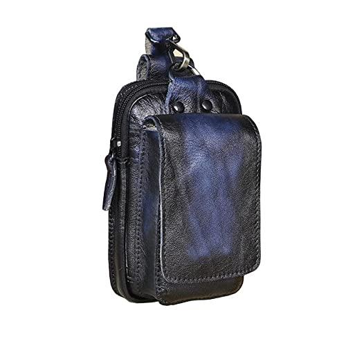 Bolso de Cintura pequeño de diseño Casual para Hombre, Bolso de Cintura con Gancho de Moda de Piel de Vaca, Bolso de cinturón, Estuche de Cigarrillos, Bolsa de teléfono móvil de 5.5 Pulgadas - Azul
