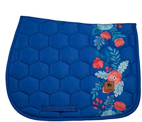 DotiBel Tapis de selle bleu roi avec une bande florale rouge et turquoise (Full-VS/GP).
