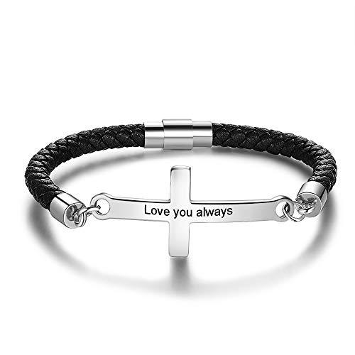 Lederarmband Kreuz Personalisierte Herren Mit Name Gravur Armband Personalisierte PU Leder Sterlingsilber Geschenk für Männer