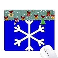 雪の青い正方形の警告マーク ゲーム用スライドゴムのマウスパッドクリスマス