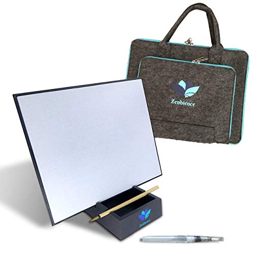 "Zenbience Artist Board Water Painting Set- with Large 12x9.5"" Canvas, Stylish Felt Carry Bag, Stand, Bamboo Brush & Additional Water Brush for Stress Relief, Relaxation & Mindfulness"