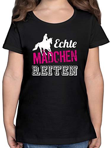Pferde Geschenk und Reiten Zubehör - Echte Mädchen reiten - 164 (14/15 Jahre) - Schwarz - Shirt echte mädchen reiten - F131K - Mädchen Kinder T-Shirt