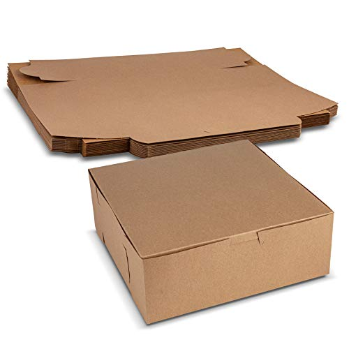 """Beautiful Lock Corner Clay Coated Kraft Paperboard Bakery Box No-Window Size 8"""" x 8"""" x 3"""" by MT Products (15 Pieces)"""
