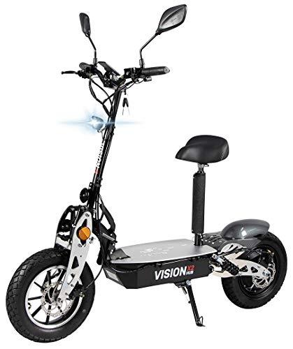 eFlux Vision X2 Elektroroller Scooter - 1500 Watt Motor - Straßenzulassung - 60 Volt Hub-Version - Bis zu 45 Km/h - E-Scooter (Schwarz)