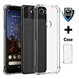 Google Pixel 3a case clear with screen protector,fits nicely with google pixel 3a case clear bumper corner protection with flexible TPU,shockproof Soft Rubber TPU Bumper clear Case with anti slip grip
