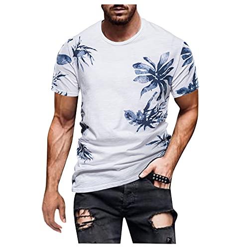 YANFANG Camisa Retro Estampada De Manga Corta Moda Casual para Hombres Primavera Y Verano,Camisa BáSica Mujer Blusa Camiseta T-Shirt Top Masculino,3-Blanco,3XL