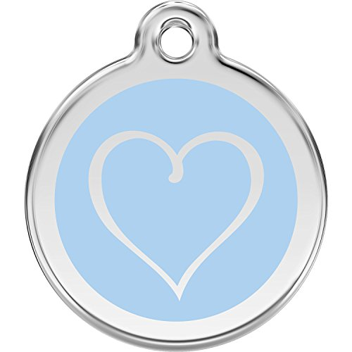 Red Dingo Personalized Tribal Heart Pet ID Dog Tag (Small Light Blue)