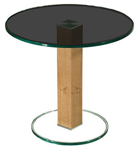 tischdesign24 Sydney52720 Ecktisch mit 12mm Parsolglas Platte. Stollen in 80x80mm Nussbaum Echtholz furniert. Preisgleich in weiteren Hölzern lieferbar. Größe: 55 x 55 cm Rund Höhe: 50cm