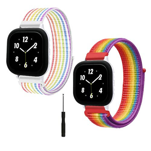 2 Pack kids Bands for Gizmo Watch Band Replacement, Breathable Washable Hook & Loop Nylon Wristband Straps , Compatible with Version Gizmo Watch 2/Gizmo Watch 1, Designed for kids (Rainbow/Neon)