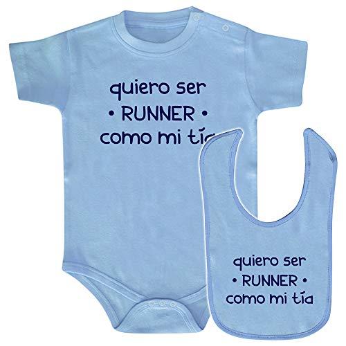 ClickInk Pack body y babero Runner como mi tía. Regalo bebé. Regalo divertido y original. Babero friki. Bebe runner. Regalo running. Body y babero de algodón. (Azul, 6 meses)