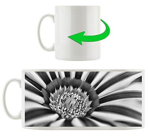 Monocrome, merveilleuse fleur rayée, Motif tasse en blanc 300ml céramique, Grande idée de cadeau pour toute occasion. Votre nouvelle tasse préférée pour le café, le thé et des boissons chaudes