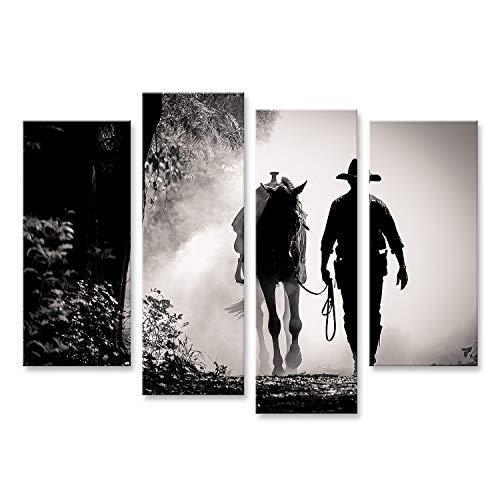 islandburner Cuadro en Lienzo Silueta en Blanco y Negro de un Vaquero y un Caballo al Amanecer Cuadros Modernos Decoracion Impresión Salon