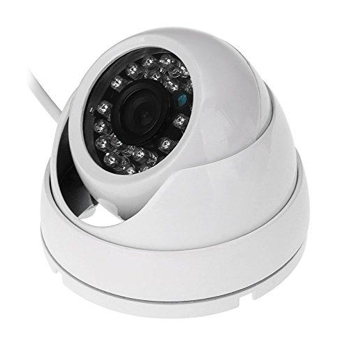 Casinlog - Telecamera di sicurezza per interni ed esterni, 800 TVL, HD, impermeabile, con circuito di sorveglianza a infrarossi, 25 m, colore: bianco