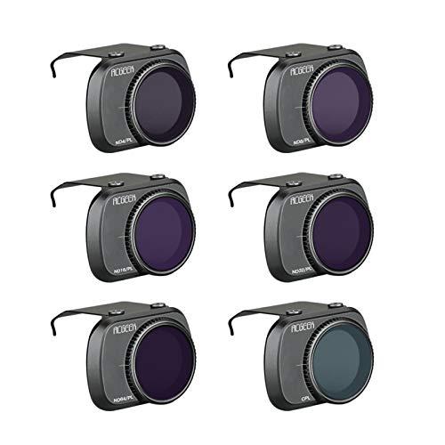 Hunpta @ 6 pezzi di filtri per obiettivo fotocamera regolabile per DJI Mavic Mini 2, CPL/ND-PL 4 / D-PL 8 / D-PL 16 / D-PL 32 / D-PL 64 filtri in alluminio Kit Drone di espansione