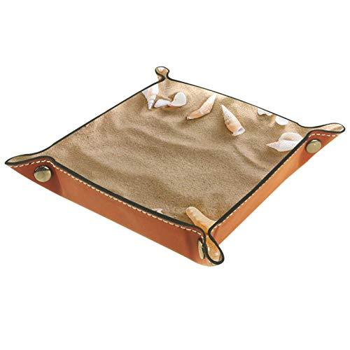 Bandeja de Cuero - Organizador - Playa de Pebble Seashell Starfish - Práctica Caja de Almacenamiento para Carteras,Relojes,llaves,Monedas,Teléfonos Celulares y Equipos de Oficina