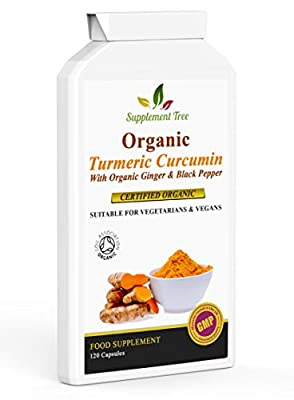 Organic Turmeric Curcumin with Organic Ginger & Black Pepper 120 Capsules | Highest Potency Tumeric Supplement | Soil Association Certified