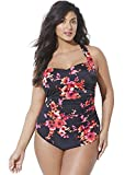 Swimsuits for All Women's Plus Size Poppies Floral Sarong Front One Piece Swimsuit 18 Red from swimsuitsforall