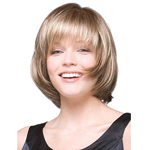 dljztrade Perruque Synthétique Haute Température Fibre Mode Blonde Courte Ligne Droite Extension De Cheveux Postiche Pour Les Femmes