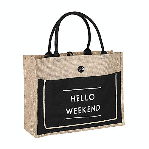JOLLQUE Large Jute Reusable Grocery Bag,Beach Tote,Shopping Bag with Handle. (Large, Black)
