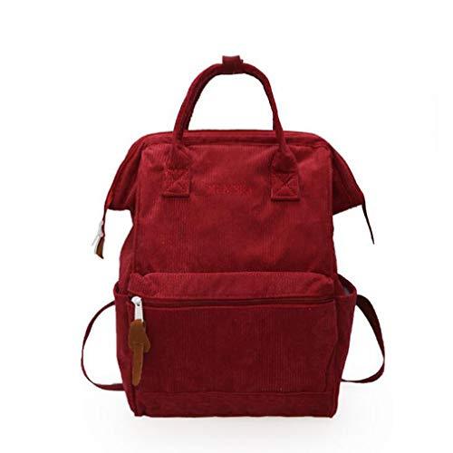 LIXIAQ1 Vintage Cord Rucksack Reiserucksack mit hoher Kapazität Leichter waschbarer Tagesrucksack, Rotwein