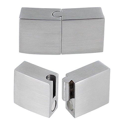 Auroris - Flacher Magnetverschluss aus Edelstahl matt-Optik - Loch: 10x3mm / 5 Stück