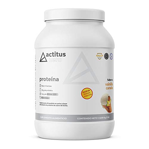 Actitus Zero   Proteína baja en carbohidratos   25 g de proteína por porción   Con Probióticos   Baja en lactosa   3 Libras (1.360 kg)   45 porciones   Sabor Vainilla Canela