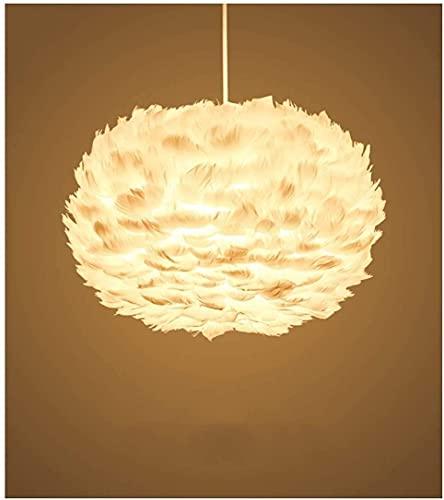 LLLKKK Lámpara de araña de plumas para dormitorio, lámpara cálida, romántica, restaurante, salón, lámpara de pers?nlichkeit creativa Nordic pluma lámpara