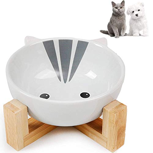 WELLXUNK® Cerámica Bowl Gatos, Cuencos elevados Mascotas, Bowl para Gatos y Perros para Perros Gatos Cachorros con Soportes de Bambú Antideslizante Cuenco de Agua para Personalizado y Práctico (B)