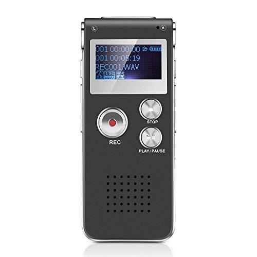 Grabadora de Voz Digital Multifuncional Portátil Recaegable USB con Reproductor de Mp3 para Entrevistas, Reuniones, Clases