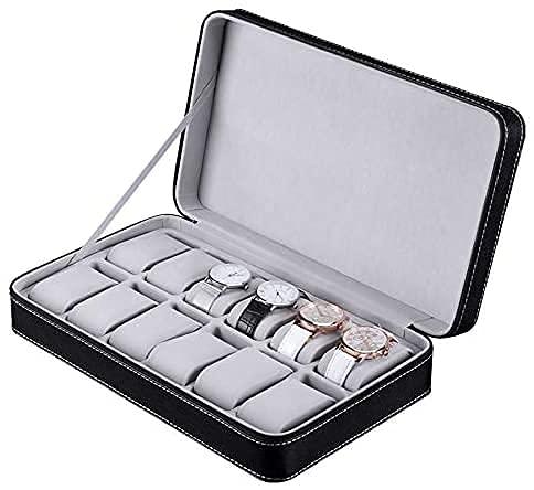 FVGBHN Uhrenboxen Uhr Display Aufbewahrungsbox 12 Uhrenbox Reißverschlusstasche Pu Uhr Schmuckschatulle Aufbewahrungsbox, Schwarz, Klein