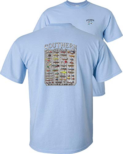 Fair Game Southern Style Fishing Lures T-Shirt Baits for bass Trout Salmon Freshwater Saltwater-Light Blue-XL