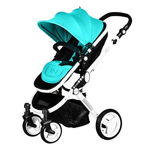 El cochecito se puede sentar tumbado, carrito de bebé, plegable, con luz, para el paisaje (color: verde, tamaño: 104 x 90 x 60 cm)