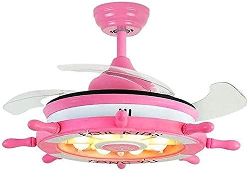 Ventilador De Techo, Luces De Techo, Ventiladores De Techo con Lámpara LED Ventilador De Techo Luz Pink Girl Room Habitación para Niños Habitación De Bebé Sala De Estar Iluminación Interior