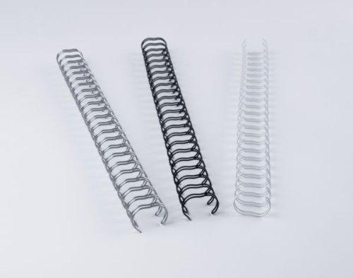 Renz One Pitch Drahtkamm-Bindeelemente in 2:1 Teilung, 23 Schlaufen, Durchmesser 6.9 mm, 1/4 Zoll, silber/matt