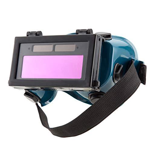 ENJOHOS Occhiali da saldatura Maschera per saldatura occhiali Batteria solare LCD Occhiali oscuranti/oscuranti per la protezione degli occhi per saldatura con nastro