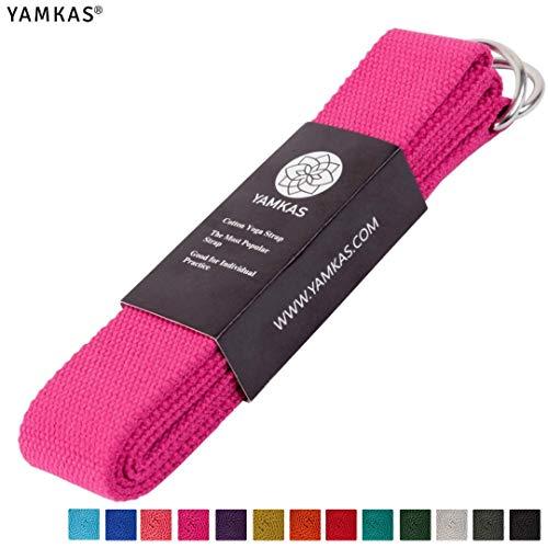 Yamkas Yoga Gurt 100% Bio Baumwolle | 1.8M - 3M Lang | Yogagurt mit Verschluss aus Metall | Yoga Strap Stretch Band