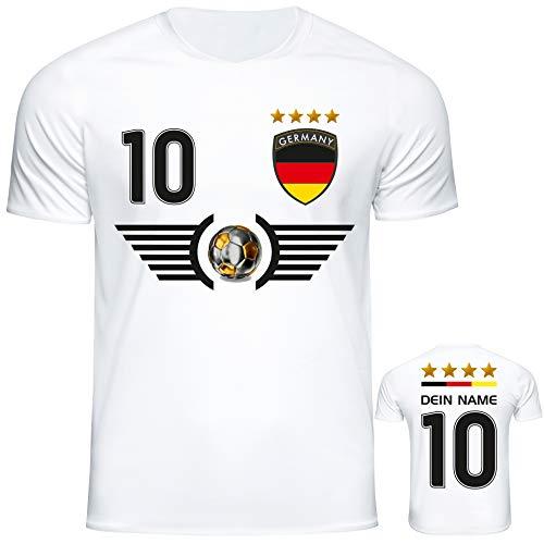 DE-Fanshop Deutschland Trikot Set 2018 mit Hose & Stutzen GRATIS Wunschname + Nummer im EM WM Weiss Typ #DE5ths - Geschenke für Kinder Erw. Jungen Baby Fußball T-Shirt Bedrucken